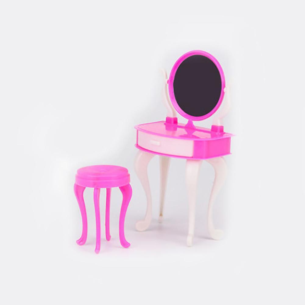 Fashion Mini Doll Dressing Table Dresser Make-Up Chair Home Furniture Decor