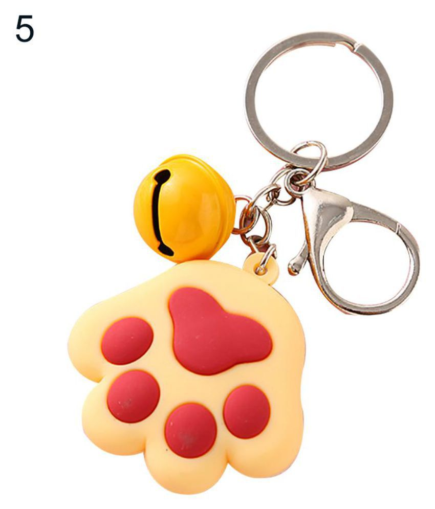 Cute Dog Cat Paw Small Bell Charm Car Keychain Key Ring Holder Bag Ornament