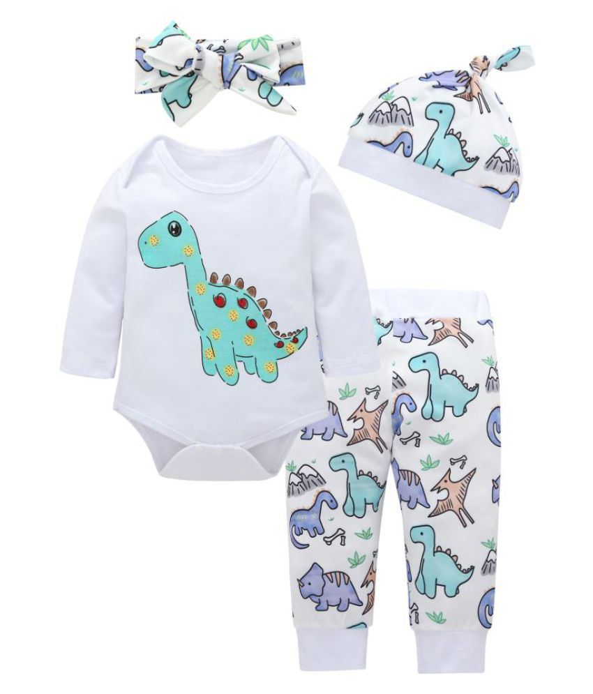 Dinosaur Infant Baby Cotton Long Sleeve Romper Pants Headband Hat Set Outfits