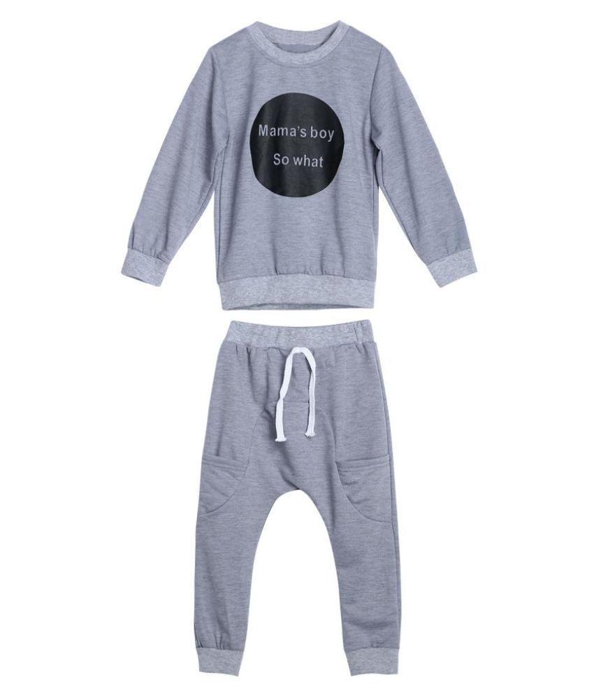 Fashion Circle Letters Baby Kids Boys Long Sleeve T-shirt Pants Clothes Set