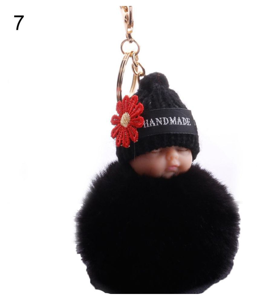 Flower Knitted Hat Sleeping Baby Doll Pompom Charm Key Ring Keychain Bag Pendant