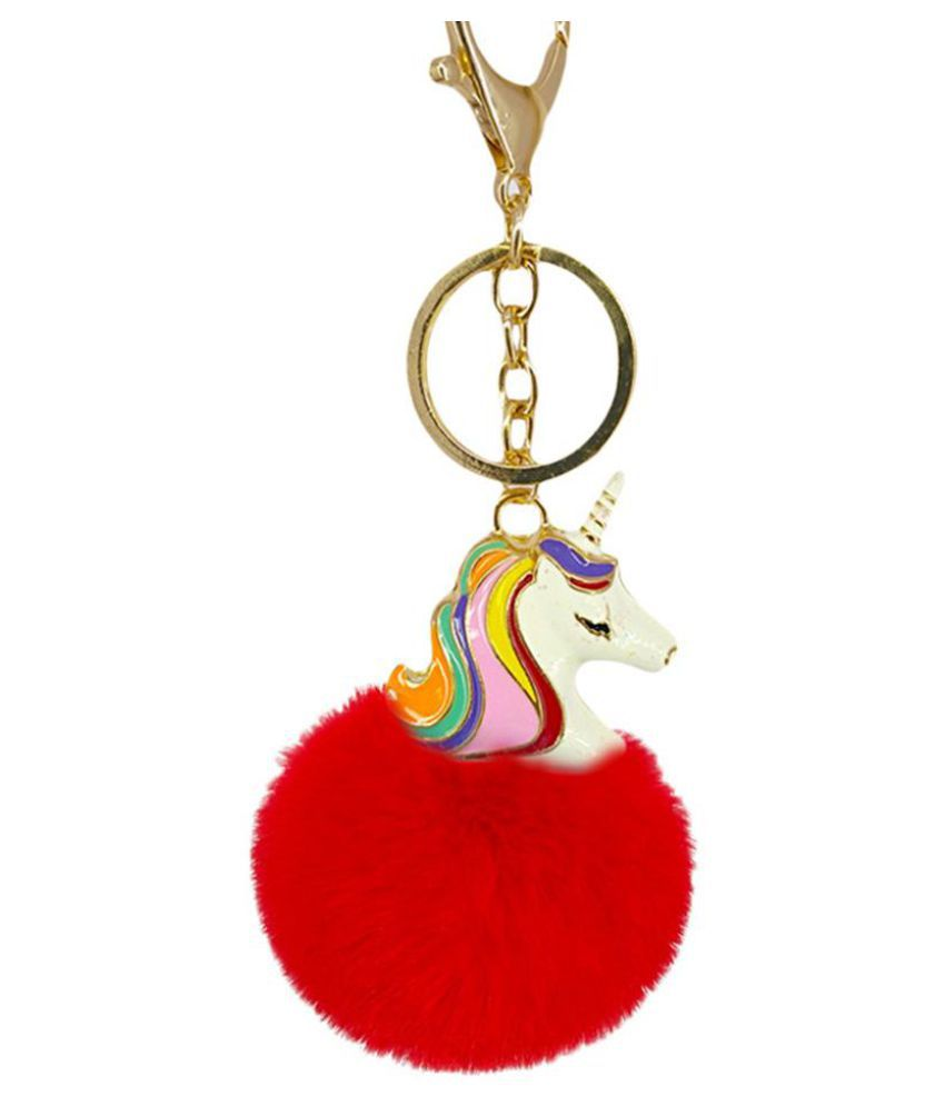 Cute Artificial Fur Ball Cartoon Unicorn Key Chain Bag Pendant Hanging Keyring