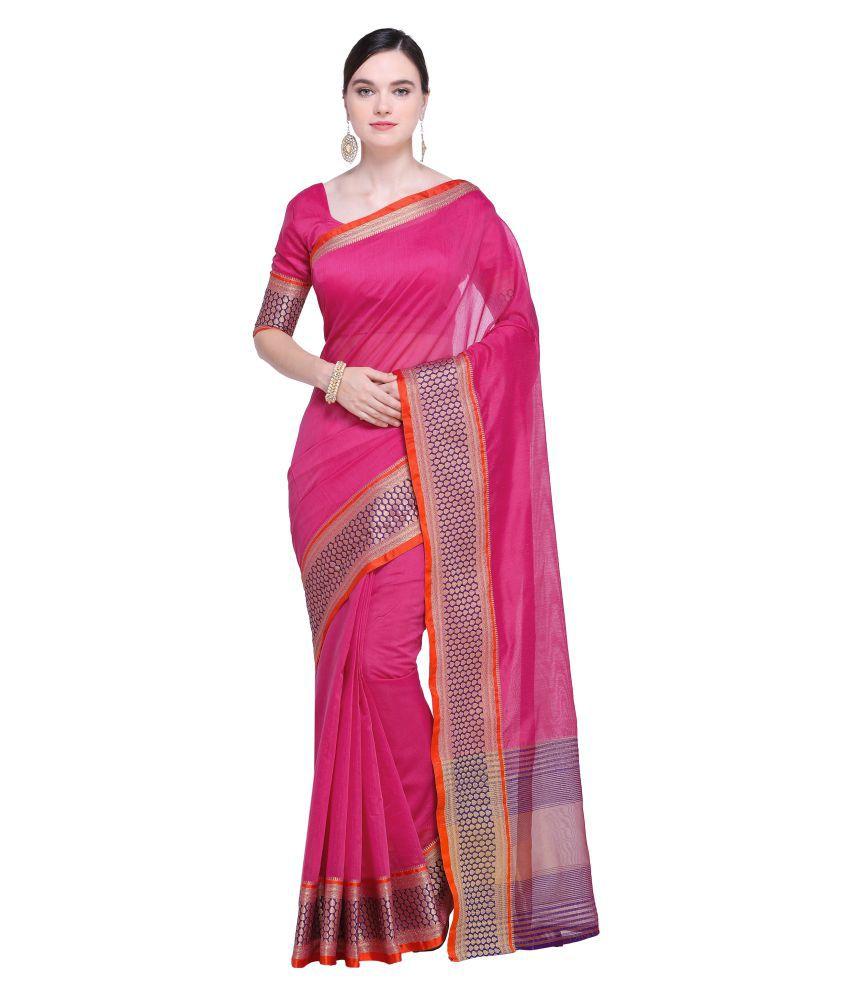 Kvsfab Pink Cotton Silk Saree