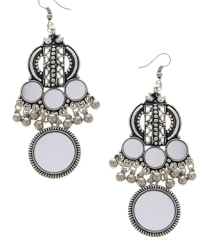 Anuradha Art Silver Oxidized Finish Wonderful Navratri Jewellery Earrings For Women