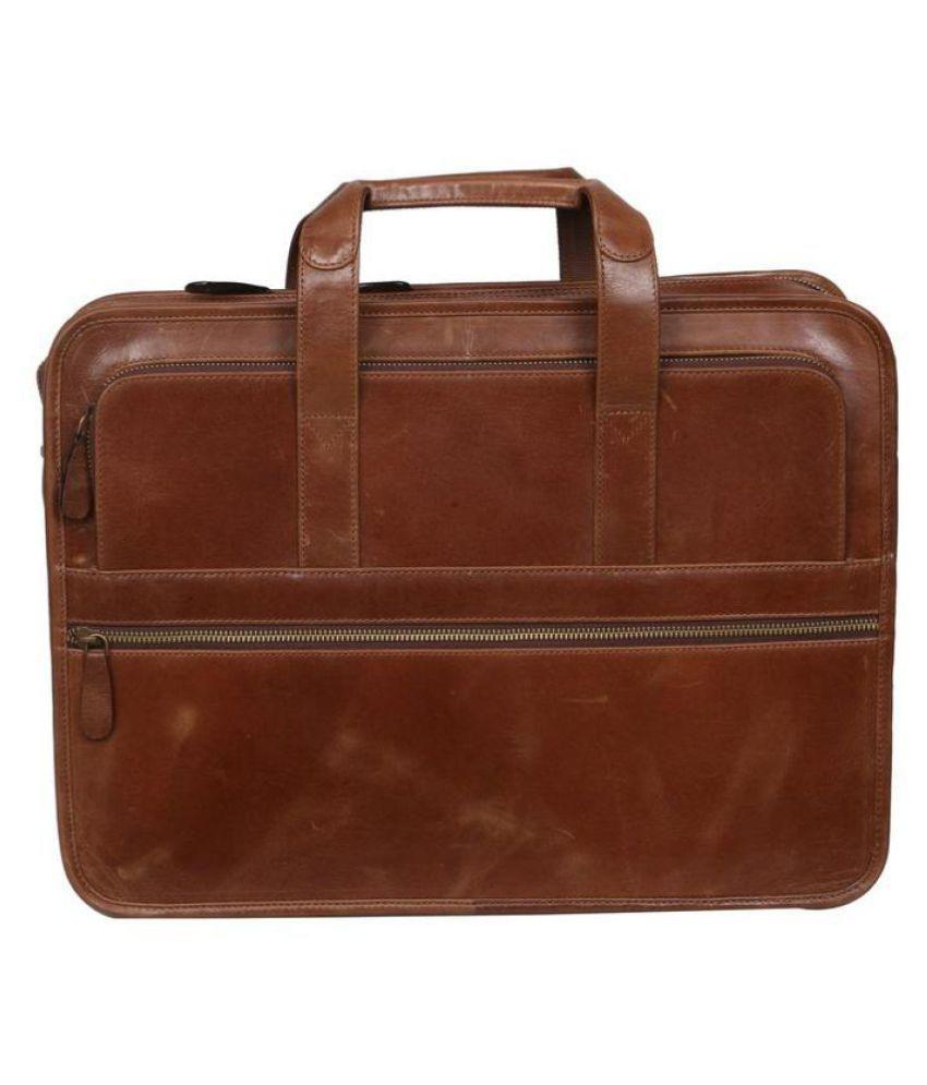C Comfort Tan Leather Office Messenger Bag