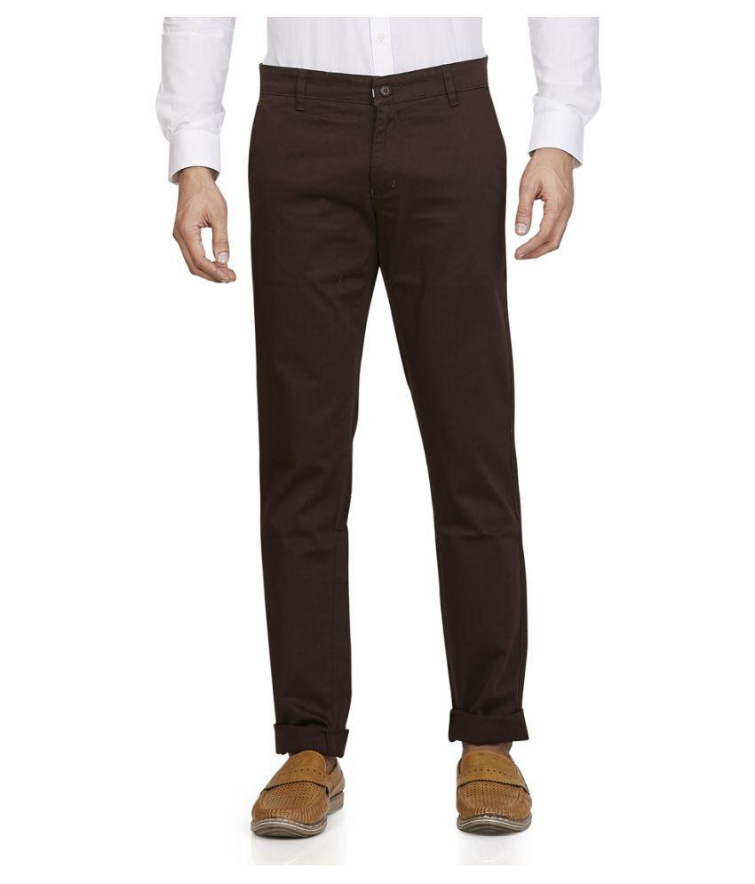 Leo Brown Slim -Fit Flat Chinos
