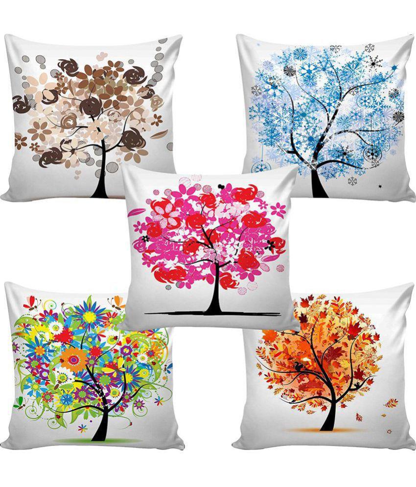 Modern Home Set of 5 Jute Cushion Covers 40X40 cm (16X16)