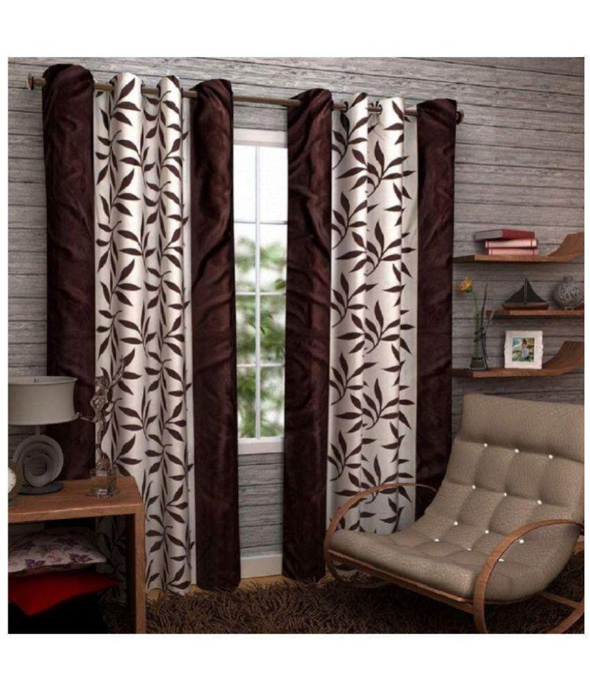 Tanishka Fabs Set of 2 Door Semi-Transparent Eyelet Polyester Curtains Brown
