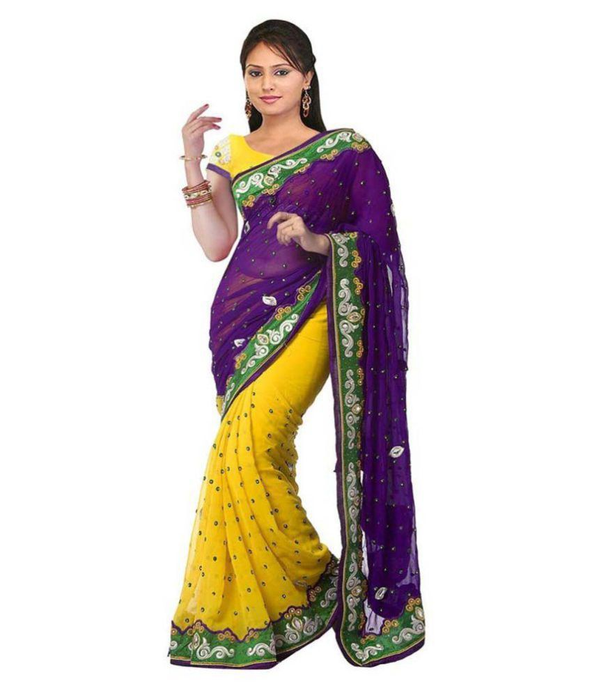 Tithi Kumari Yellow Georgette Saree