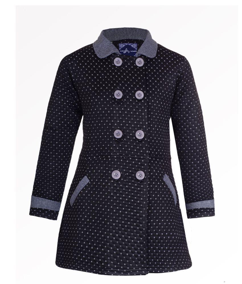 Naughty Ninos Girls Black Fleece Front Open Jacket