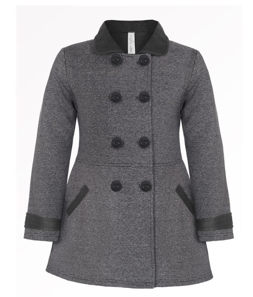 Naughty Ninos Girls Dark Grey Stripe Fleece Front Open Striped Jacket