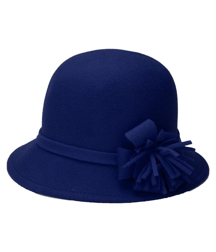 ... Women Girls Polyester Floral Fedora Hat Vintage Round Brim Sunshade  Flower Bonnet Cap ... c8f66246d0c