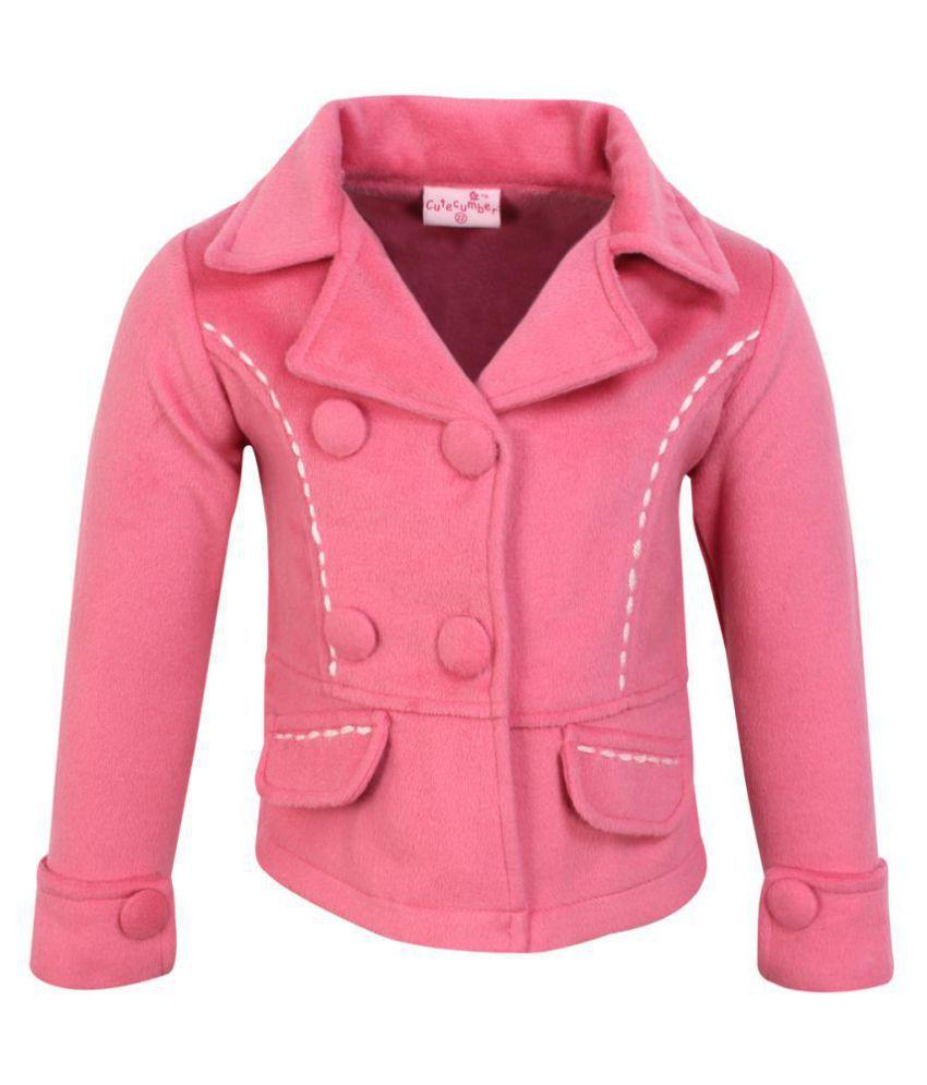 Cutecumber Girls Partywear Tweed Coat Fabric Winter Coat