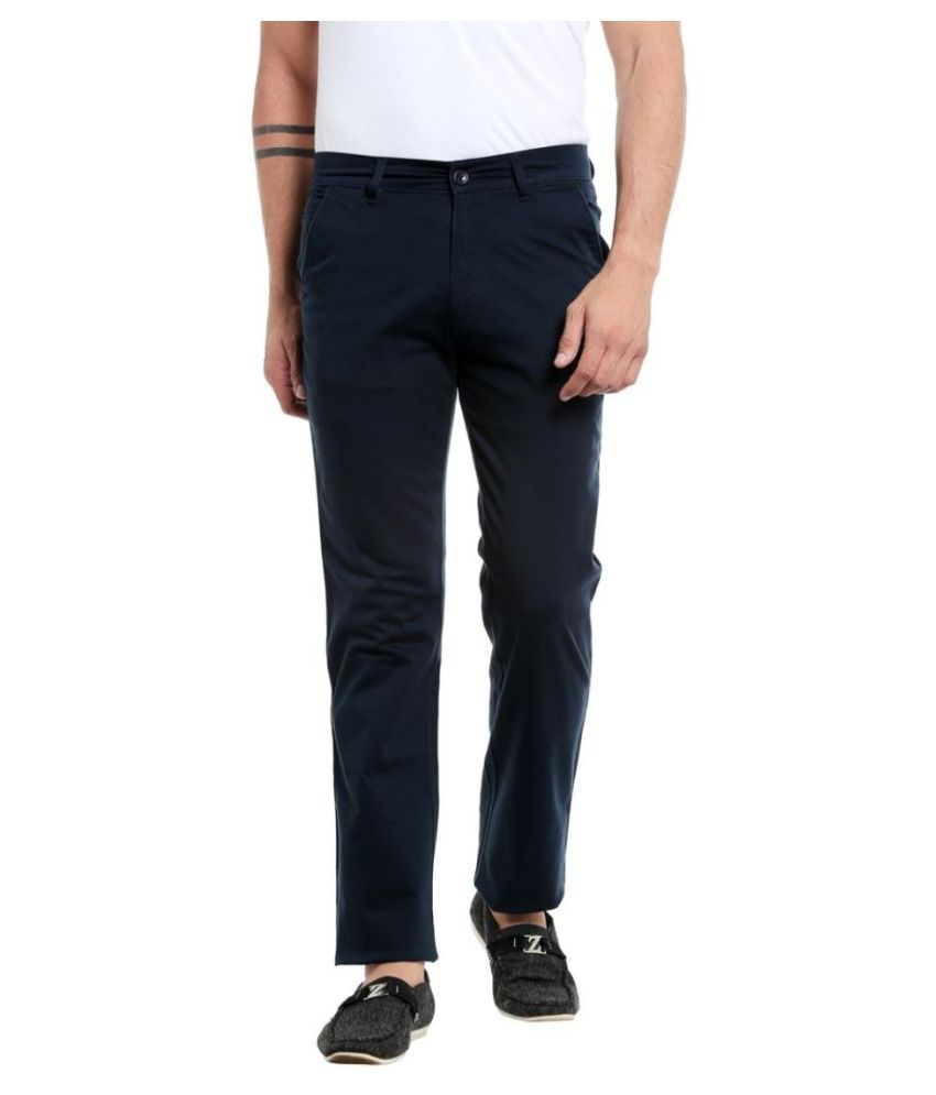 Mayback Navy Blue Regular -Fit Flat Trousers