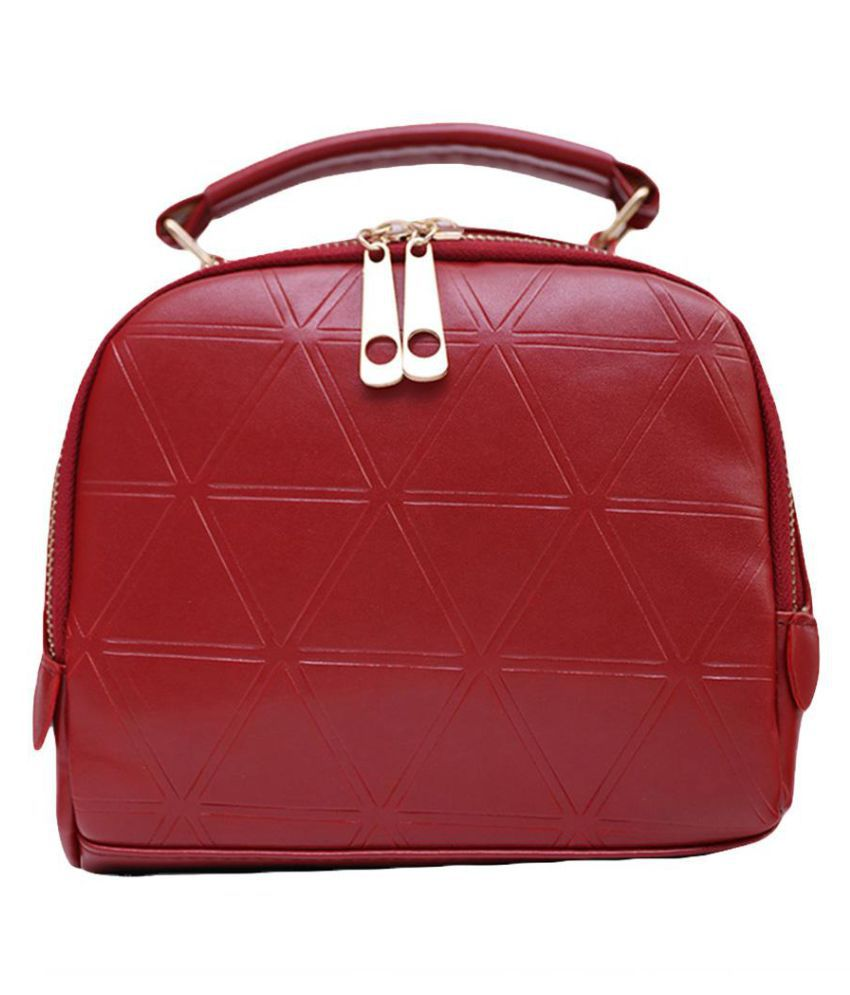 Generic Fiery Red Faux Leather Shoulder Bag