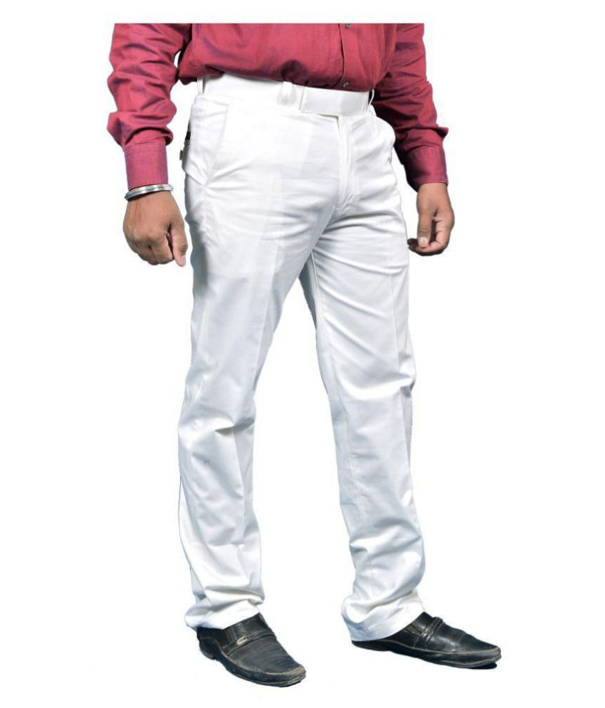 Just Trousers White Regular -Fit Flat Trousers