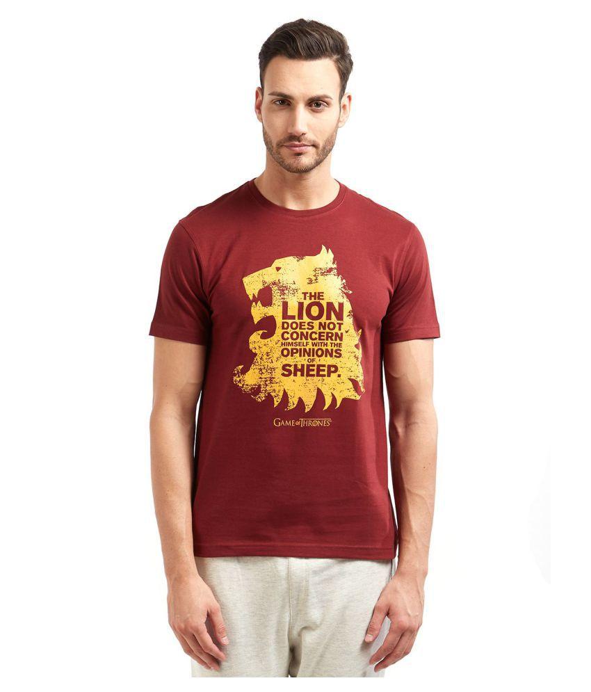 Redwolf Maroon Half Sleeve T-Shirt Pack of 1