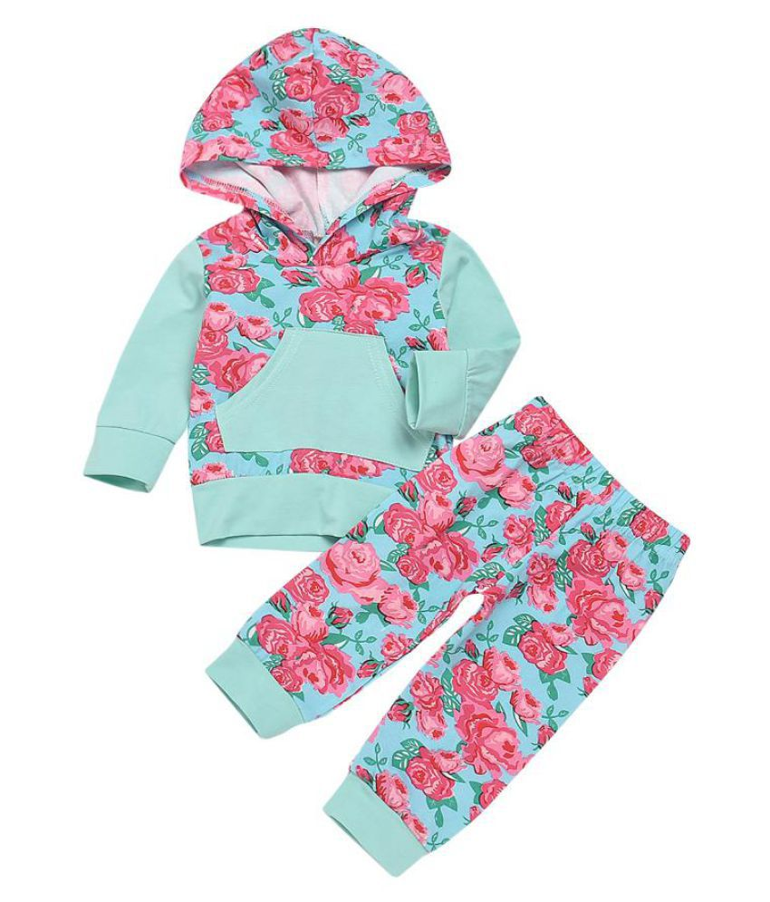 Fashion Rose Flower Baby Kids Girls Long Sleeve Hooded Top Pants Clothes Set