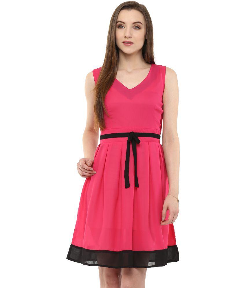 Zima Leto Polyester Pink Regular Dress