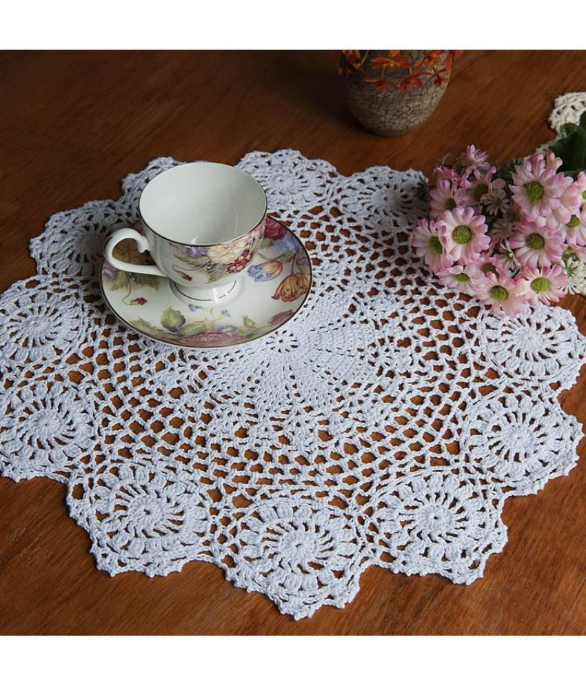Cotton Mat Hand Crocheted Lace Doilies  Flower Shape Coasters Cup Mug Pads Home Coffee Shop Table Decoration Crafts