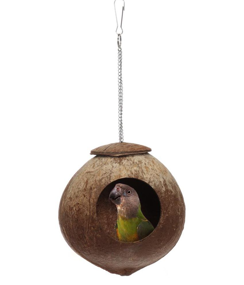 Natural Coconut Shell Bird Nest Parakeet House Hut Parrot Cage Feeder Pet Toy Durable Quality