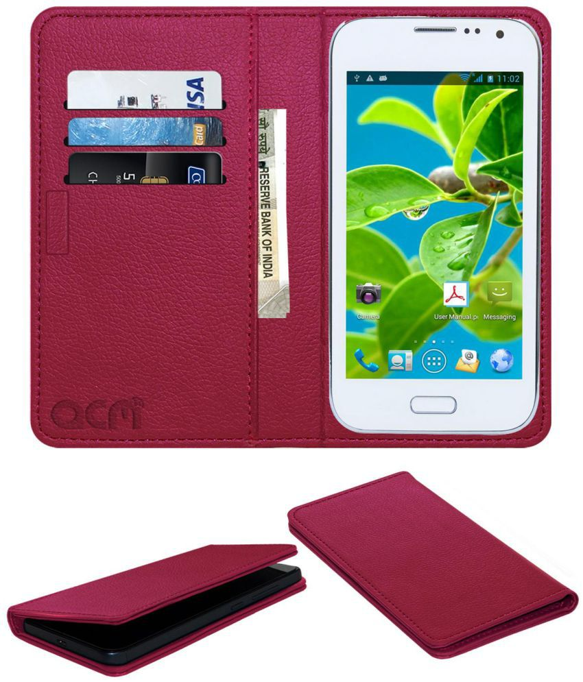 Datawind Pocket Surfer 5 Flip Cover by ACM - Pink Wallet Case,Can store 3 Card/Cash
