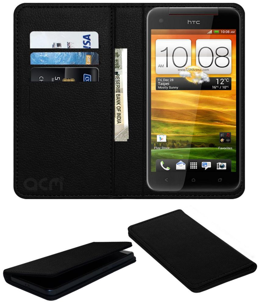 HTC Butterfly S Flip Cover by ACM - Black Wallet Case,Can store 3 Card/Cash