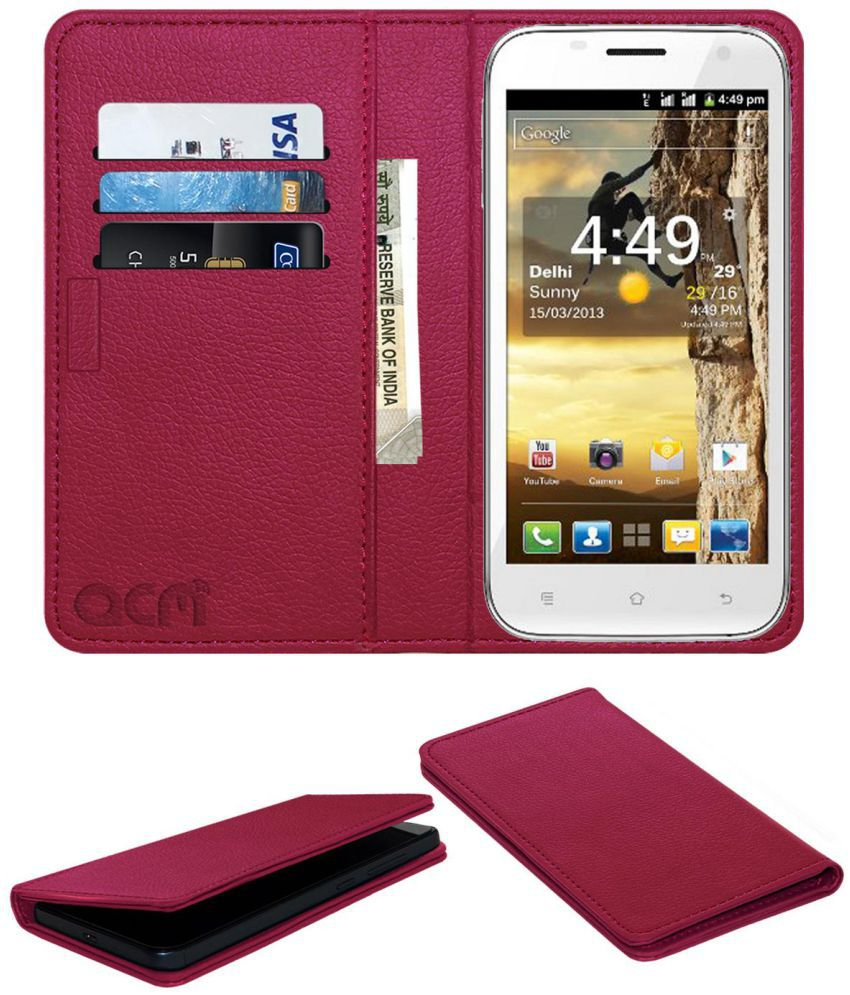 Spice Mi-510 Stellar Prime Flip Cover by ACM - Pink Wallet Case,Can store 3 Card/Cash