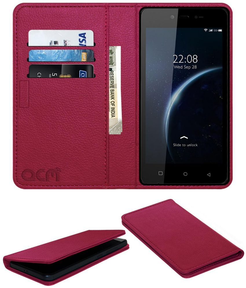 Videocon Krypton 30 Flip Cover by ACM - Pink Wallet Case,Can store 3 Card/Cash