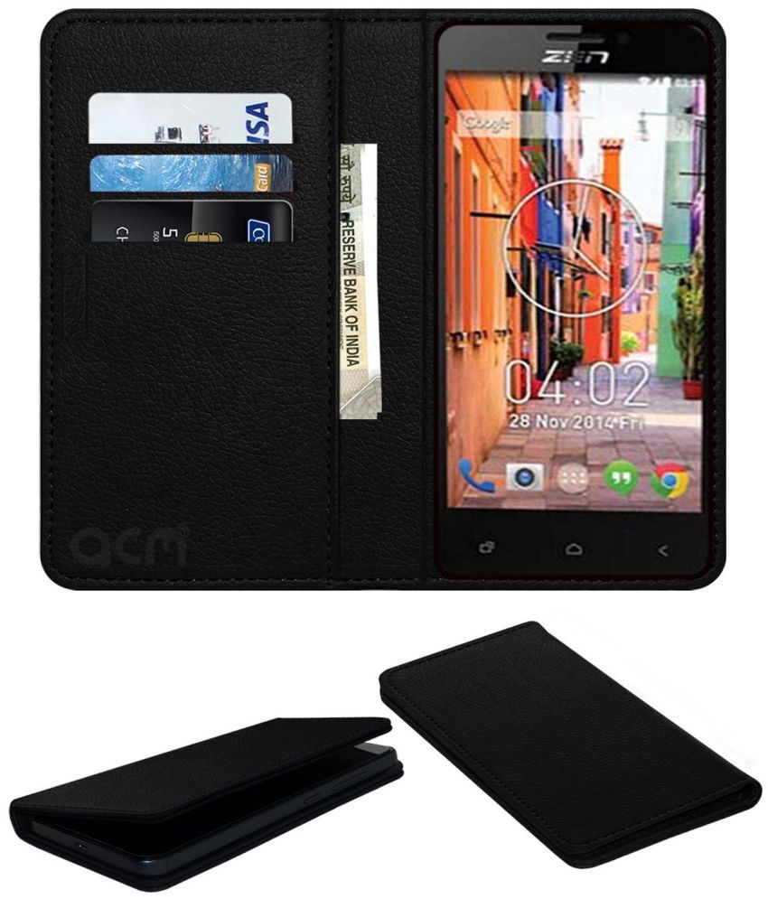 Zen Ultrafone 402 Flip Cover by ACM - Black Wallet Case,Can store 3 Card/Cash