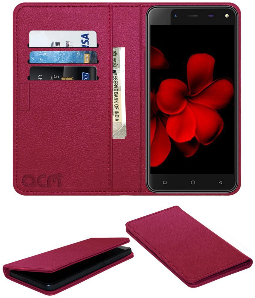 Karbonn Titanium Frames S7 Flip Cover by ACM - Pink Wallet Case,Can store 3 Card/Cash