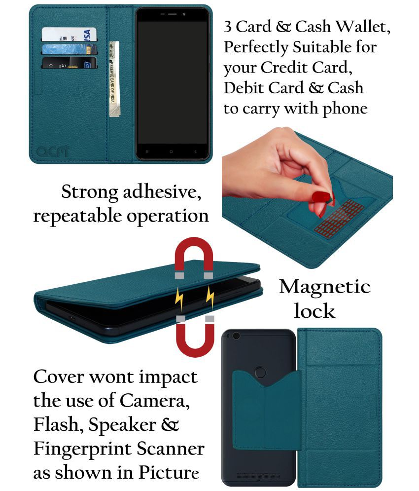 Lenovo Vibe K4 Note Flip Cover by ACM - Blue Wallet Case,Can store 3  Card/Cash