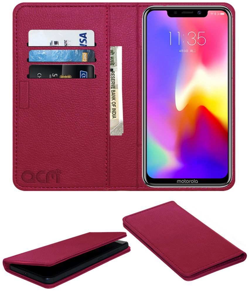 Motorola P30 Flip Cover by ACM - Pink Wallet Case,Can store 3 Card/Cash