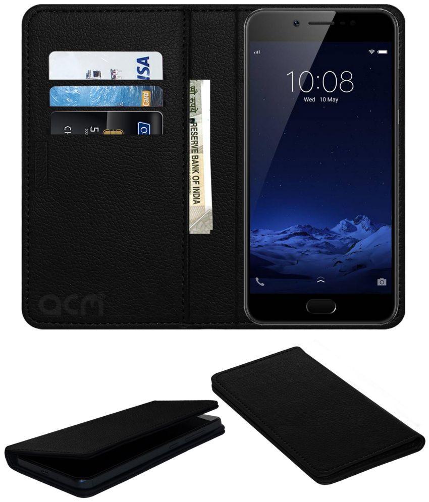 official photos 51a28 5b431 VIVO V5S Flip Cover by ACM - Black Wallet Case,Can store 3 Card/Cash