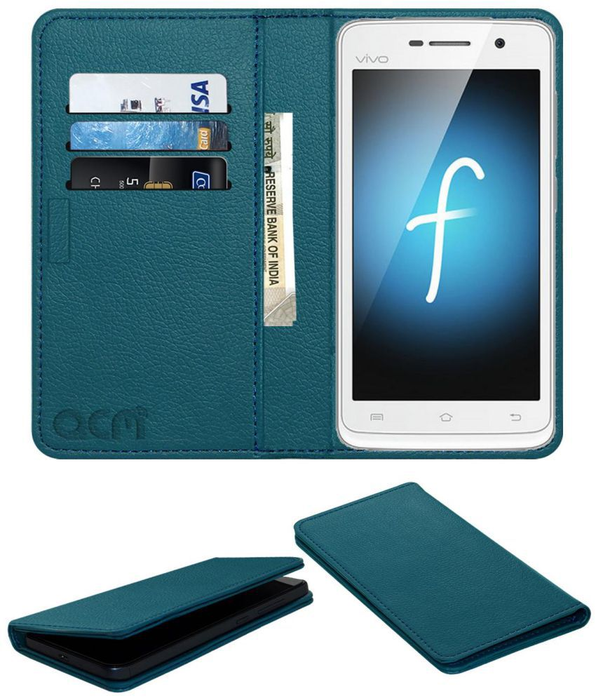 Vivo Y21 Flip Cover by ACM - Blue Wallet Case,Can store 3 Card/Cash