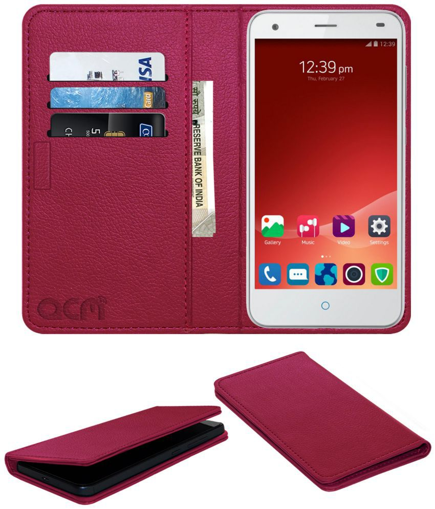 Zte Blade S6+ Plus Flip Cover by ACM - Pink Wallet Case,Can store 3 Card/Cash