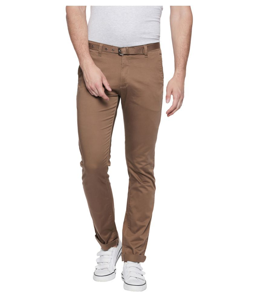 Beevee Khaki Regular -Fit Flat Chinos