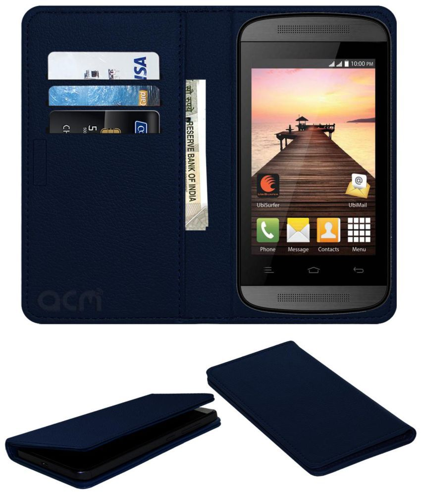 Datawind Pocketsurfer 3g4+ Flip Cover by ACM - Blue Wallet Case,Can store 3 Card/Cash