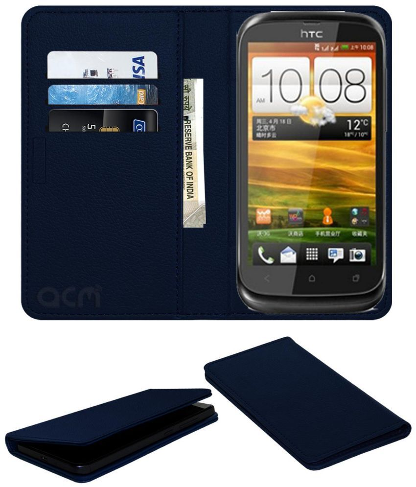 Htc Primo V Flip Cover by ACM - Blue Wallet Case,Can store 3 Card/Cash
