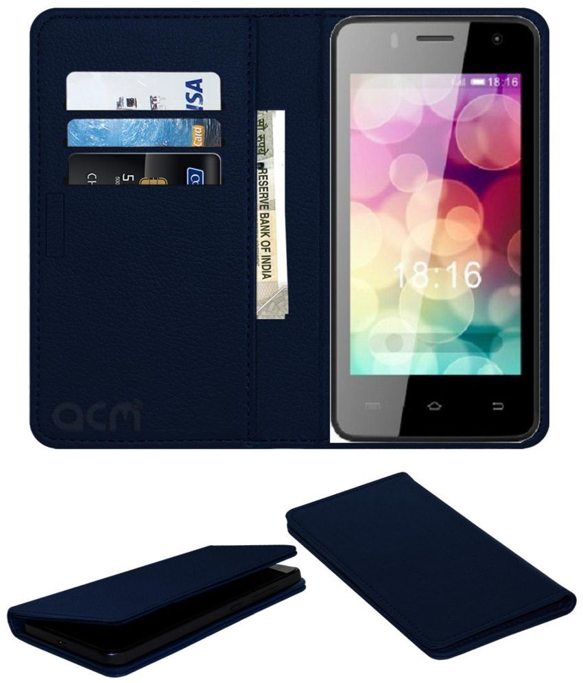 Intex Aqua Y2 Ips Flip Cover by ACM - Blue Wallet Case,Can store 3 Card/Cash