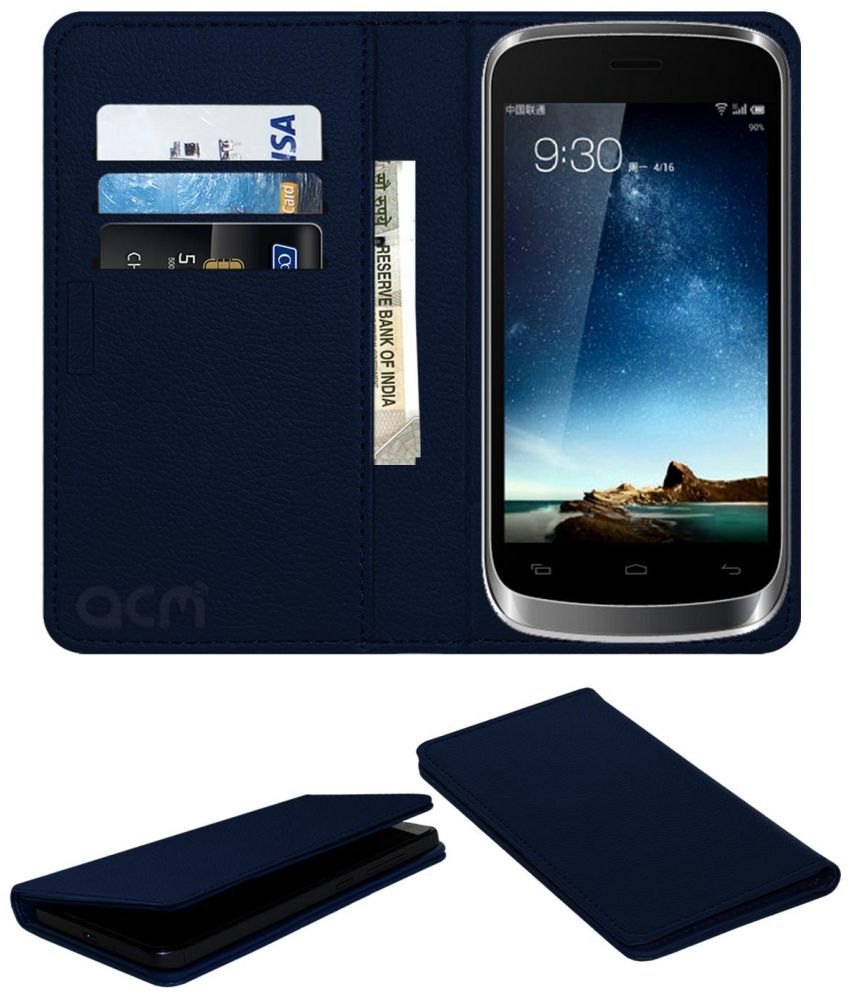 Lava Iris 401E Flip Cover by ACM - Blue Wallet Case,Can store 3 Card/Cash
