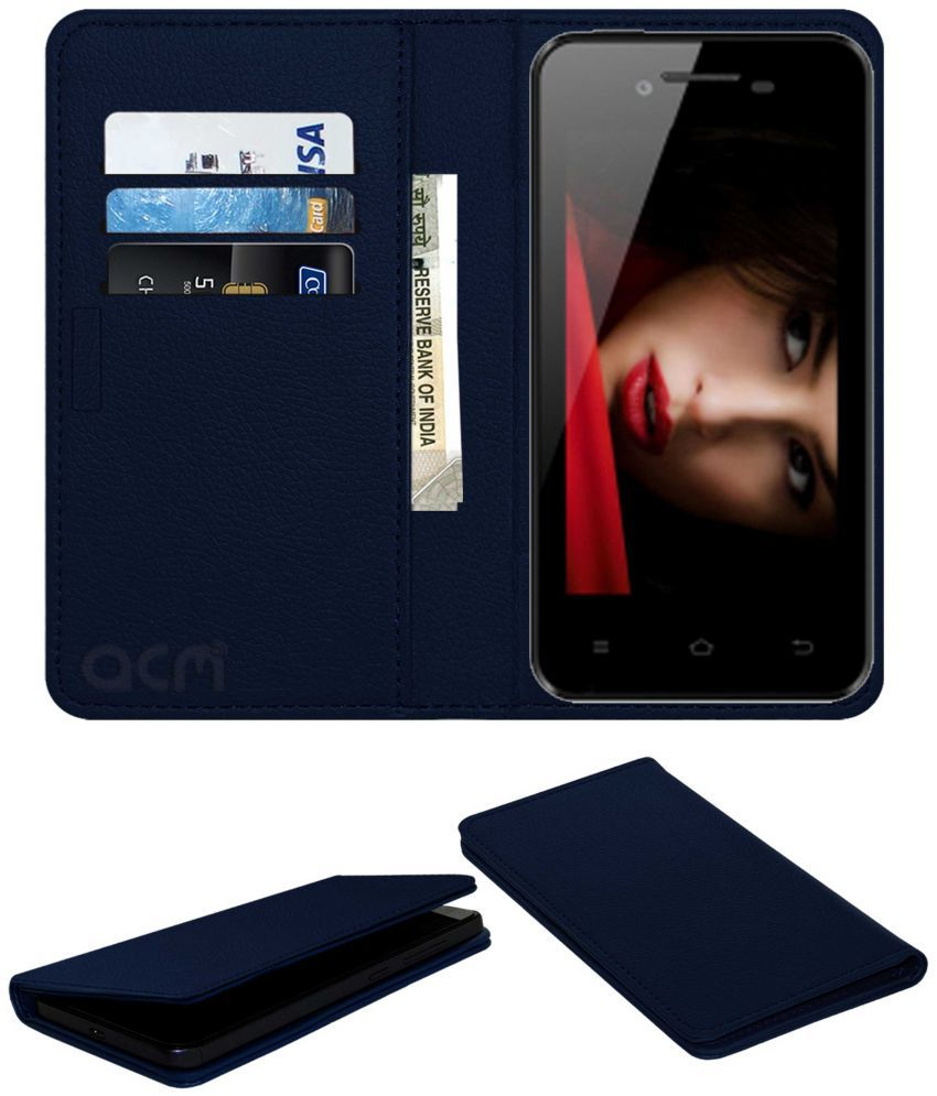 Zen Ultrafone 303 Power Flip Cover by ACM - Blue Wallet Case,Can store 3 Card/Cash