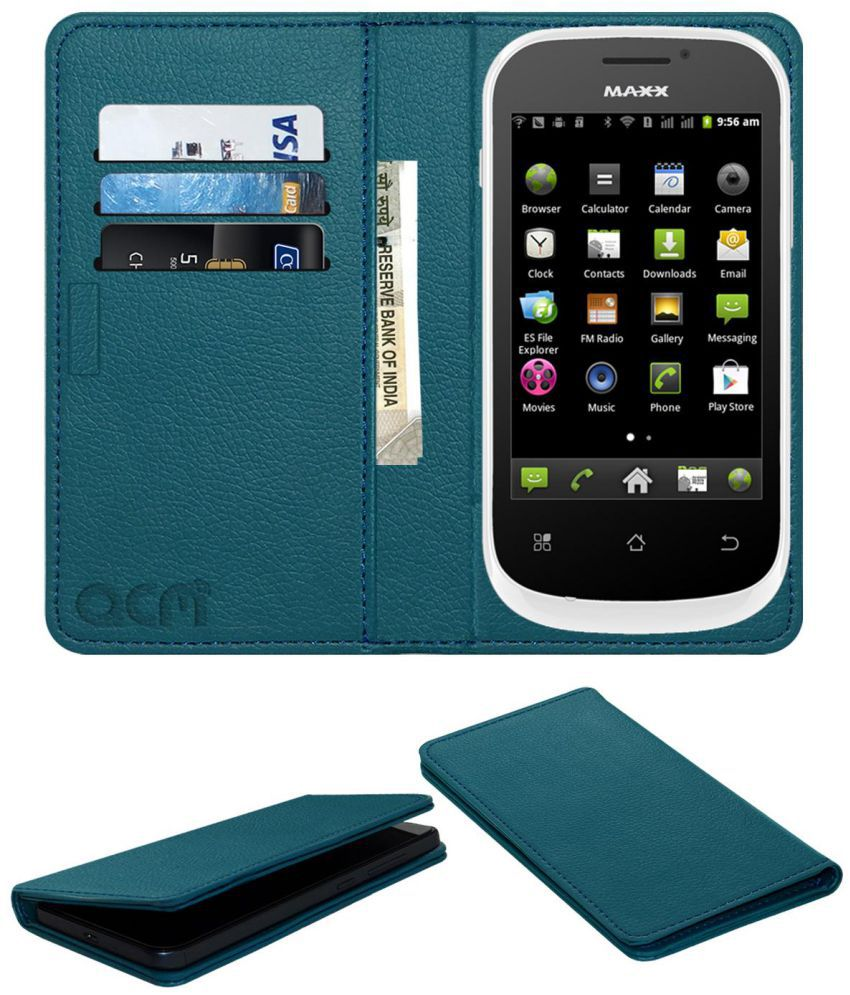 MAXX AX353 Flip Cover by ACM - Blue Wallet Case,Can store 3 Card/Cash