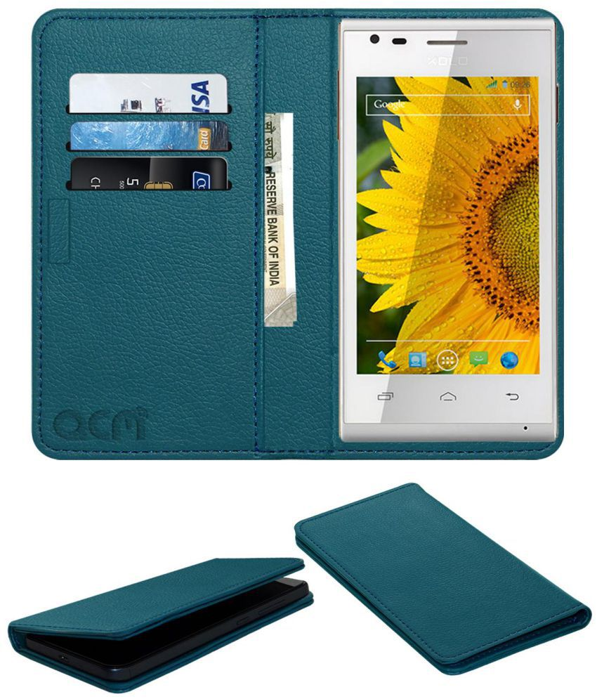 Xolo A500s IPS Flip Cover by ACM - Blue Wallet Case,Can store 3 Card/Cash