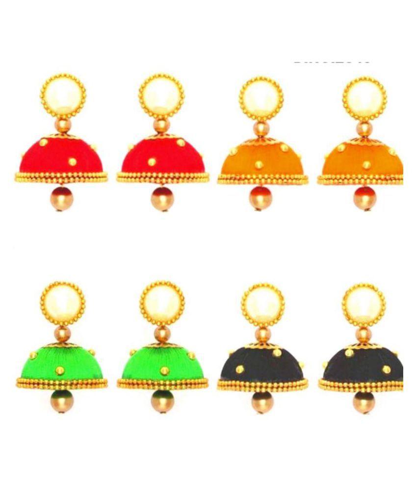 Designer multicolor combo of 4 silk Jhumki earrings by AMMAJI FASHION