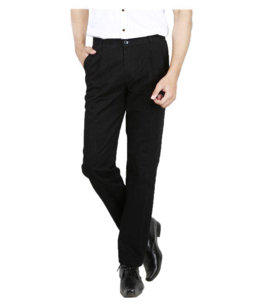 AD & AV Black Regular -Fit Flat Trousers