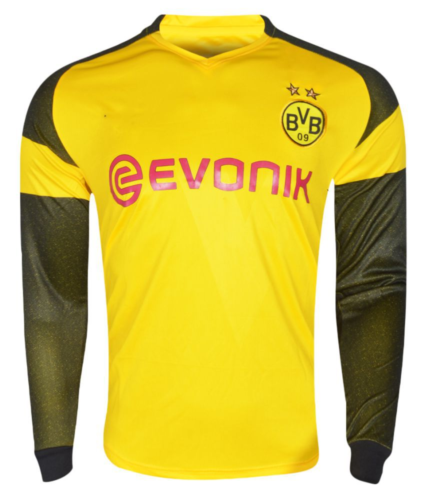 Borussia dortmund football team yellow color dry fit long sleeve polyester jersey