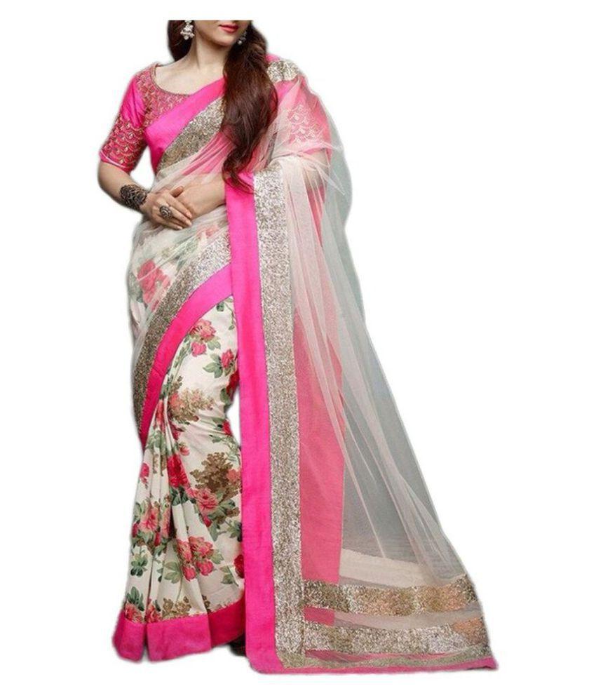 GreenViji Pink and Grey Chiffon Saree