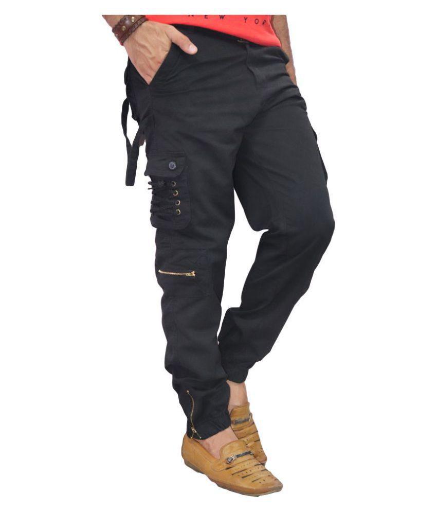 POOL CLUB Black Regular -Fit Flat Joggers