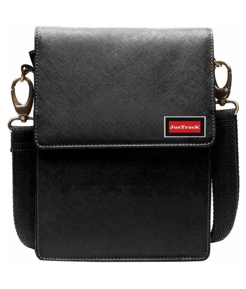Justrack LSBU5-JT_8 Black Leather Casual Messenger Bag